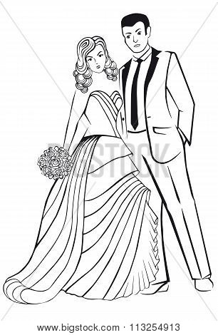 Newlyweds. Woman in a ball gown dress with man.