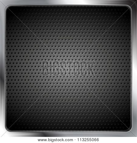 Abstract metallic silver frame with perforated texture. Vector background steel framework. Dark grey color design