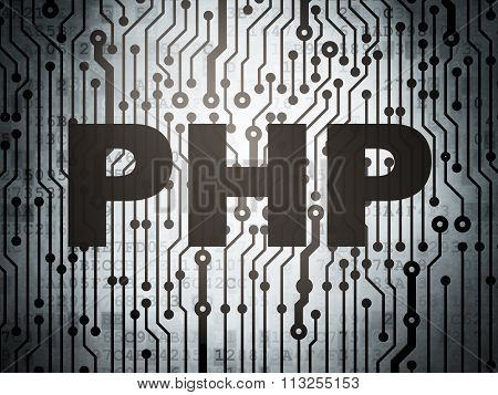 Software concept: circuit board with Php