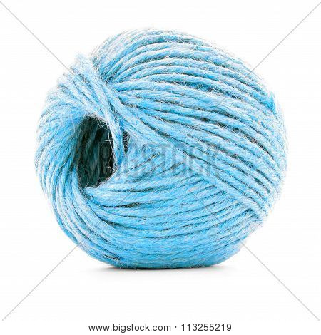 Blue Wool Clew, Sewing Yarn Roll Isolated On White Background