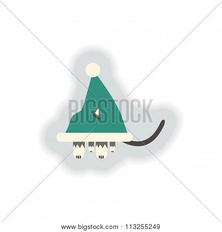 stylish paper sticker on white background Cat in Santa hats