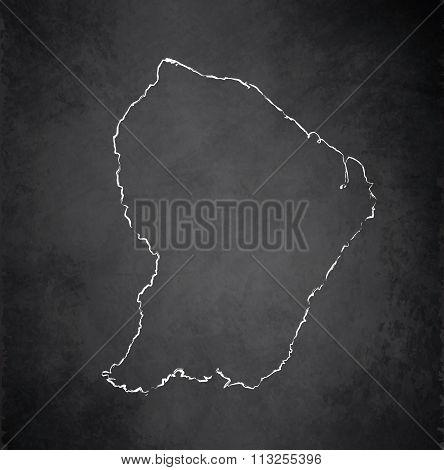 French Guiana map blackboard chalkboard raster