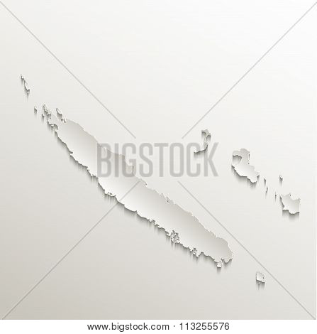 New Caledonia map card paper 3D natural raster