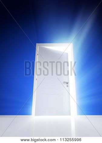 Open white door with rays of light on blue wall