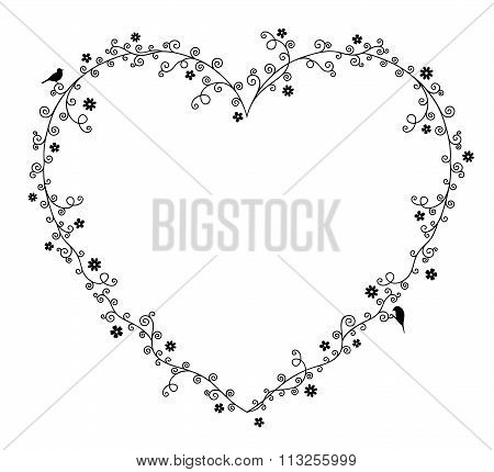 Vector frame of curly blossom tree branches and two birds on white background. For text