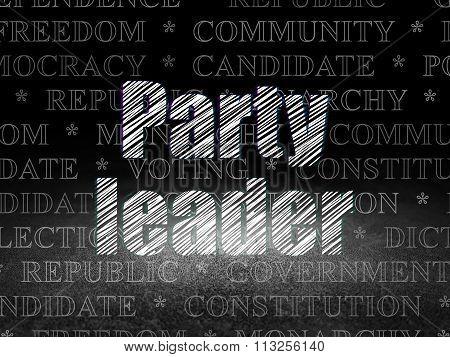 Politics concept: Party Leader in grunge dark room