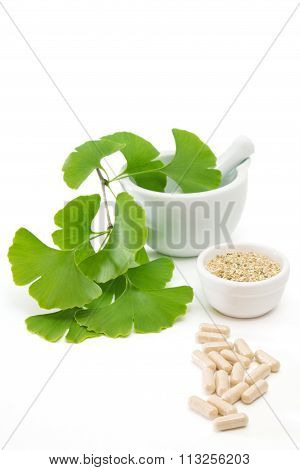 Ginkgo Capsules With Mortar And Pestle