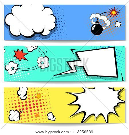 Comic speech bubble  web header set  with Explosion -  banner comics background.  Vector