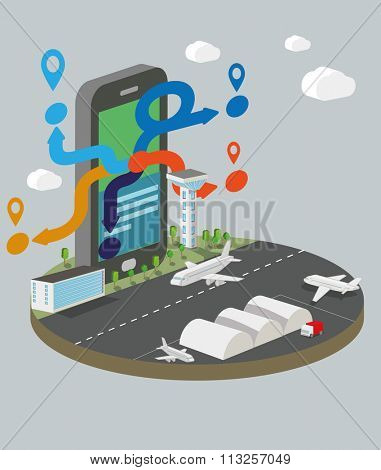 Isometric vector illustration of  smart phone with airport.  Booking and travel services concept.