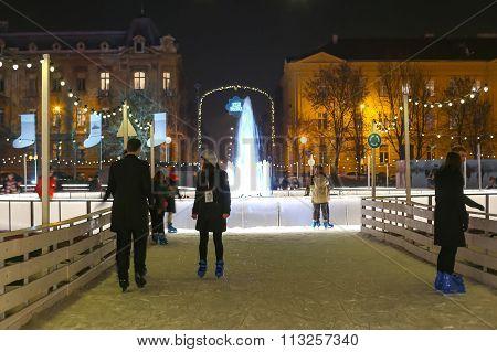 Ice Skaters In Zagreb
