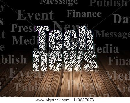 News concept: Tech News in grunge dark room