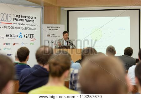 ST. PETERSBURG, RUSSIA - NOVEMBER 13, 2015: Creator of Eiffel programming language Bertrand Meyer at the conference Tools & Methods of Program Analysis in the Saint-Petersburg Polytechnic University