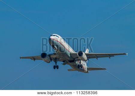 CORFU, GREECE - DECEMBER 12: An Aegean Airbus charter taking off on December 12, 2015 in Corfu,Aegean is an airline from Greece with its headquarters in Athens
