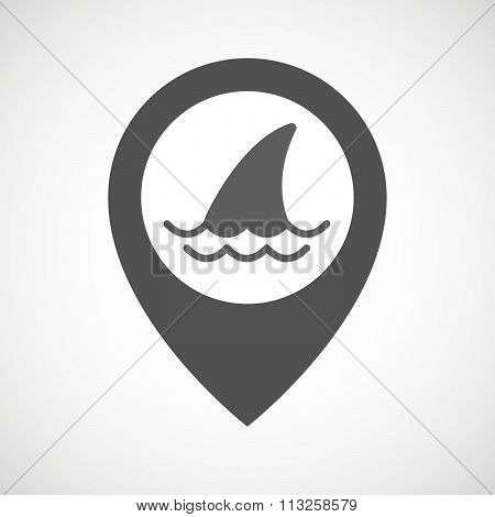 Isolated Map Marker With A Shark Fin