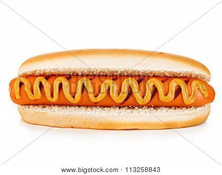 Big Tasty Appetizing Hot Dog Close-up Isolated On A White Background. Fastfood.
