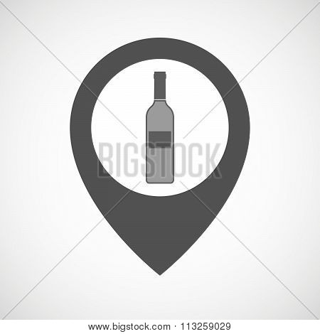Isolated Map Marker With A Bottle Of Wine