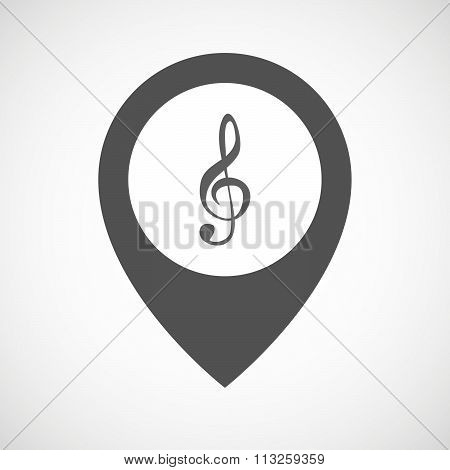 Isolated Map Marker With A G Clef