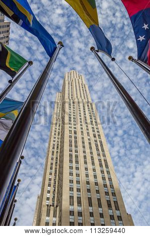 National Flags At Rockefeller Center In New York