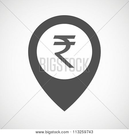 Isolated Map Marker With A Rupee Sign