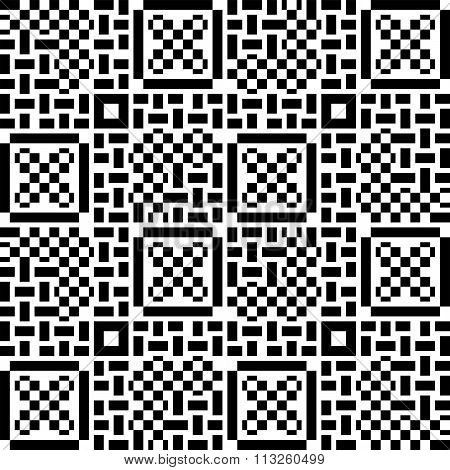 Seamless Patchwork Pattern In Black And White Tiles. Can Be Used For Wallpaper, Pattern Fills, Backg