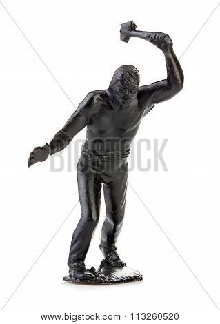 North American Indian With Tomahawk In His Hand Close-up Isolated On White . Miniature Figurine Of A