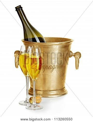 Champagne Bottle In Golden Ice Bucket With Glasses Of Champagne Close-up Isolated On A White Backgro