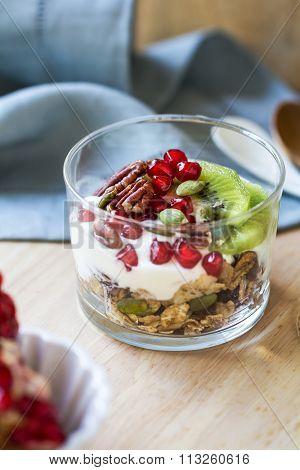 Yogurt ,kiwi And Pomegranate