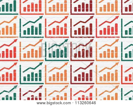 Advertising concept: Growth Graph icons on wall background