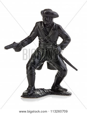 Angry Pirate With Gun Close-up Isolated On A White Background. Miniature Figurine Of A Children's To