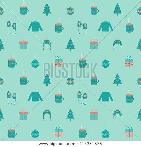 Festive Flat Christmas And New Year Seamless Pattern