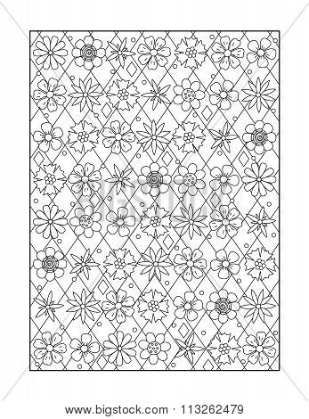 Coloring page for adults, or black and white ornamental background
