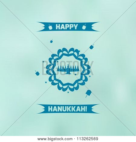 Flat hanukkah menorah on blue blurred background