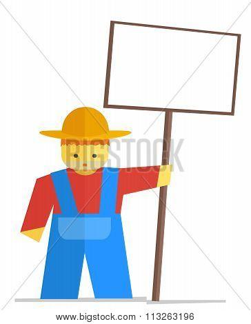 Vector Farmer With Sign