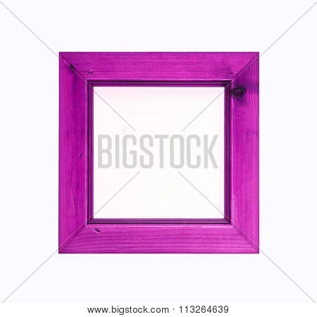 Pink, Square, Wooden Picture Frame Isolated On White Background.