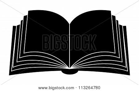 Open Book Vector Clipart Silhouette, Symbol, Icon  Design. Illustration Isolated On White Background