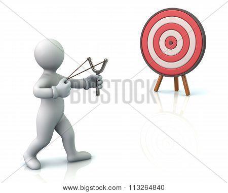 Man Aiming Slingshot At Target