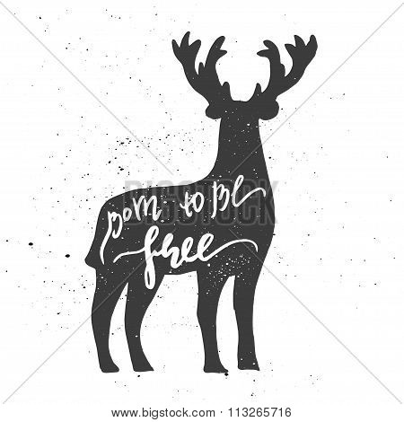 Deer lettering poster