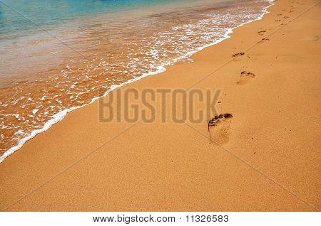 Huellas en una playa de arena