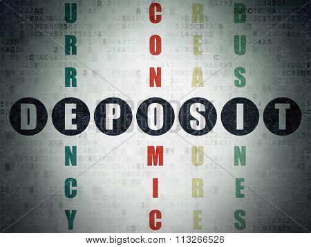 Money concept: Deposit in Crossword Puzzle