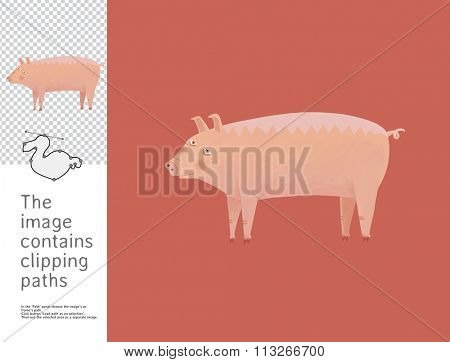 The illustration of a pig.  A part of Dodo collection - a set of educational cards for children. The image has clipping paths and you can cut the image from the background.