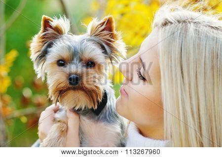Teen Girl With Little Dog