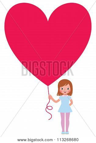 Girl Presents A Valentine A Heart Isolated On White Background
