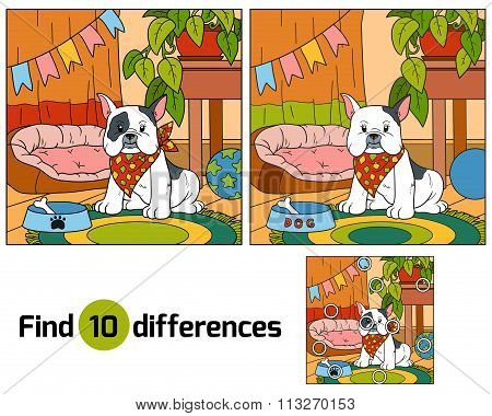 Find Differences, Game For Children (french Bulldog And Background)