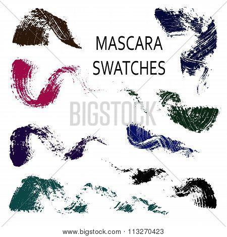 Set of 8 flat mascara swatches.
