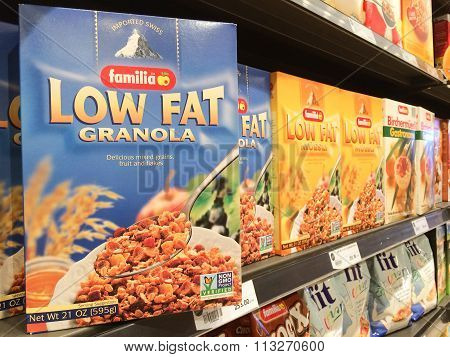 Bangkok, Thailand - November 12, 2015: Familia Low Fat Granola Cereal  On Display In A Supermarket.