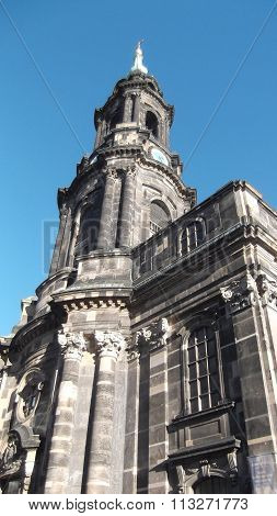 A tower of the Old Masters Picture Gallery in Dresden, Germany