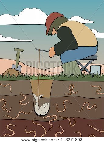 Editable vector cartoon illustration of a man fishing for worms using a fish as bait
