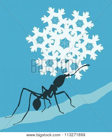 EPS8 editable vector illustration of a leafcutter ant carrying a snowflake