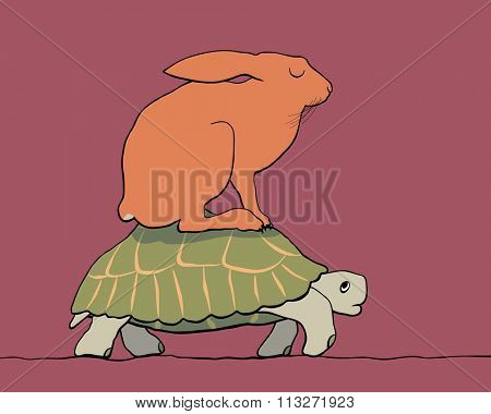 EPS8 editable vector cartoon of a hare resting on the back of a tortoise with figures as separate objects