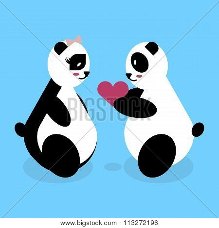 panda bear lovers on Valentine's Day. cute vector